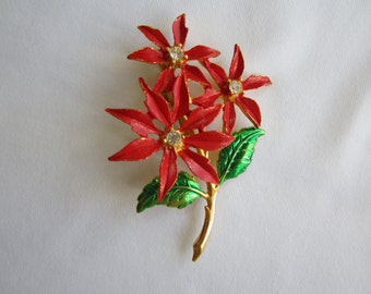Vintage Poinsettia Christmas Brooch Pin