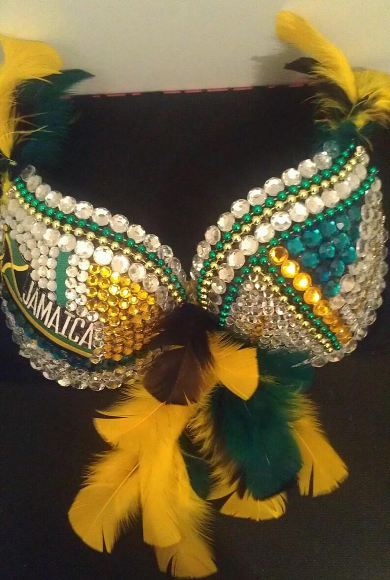 6cbbaa47116d1 Rhinestone Bra Green black and gold Jamaican rhinestone bra