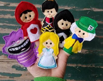 Alice in Wonderland Finger Puppets - Sold Individually or as a Set