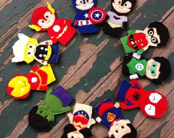 Comic Book Super Hero Finger Puppets - Sold Individually or as a Set