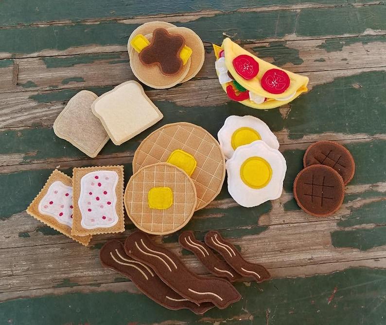Play Food  Felt Food  Breakfast Play Set  Eggs  Bacon