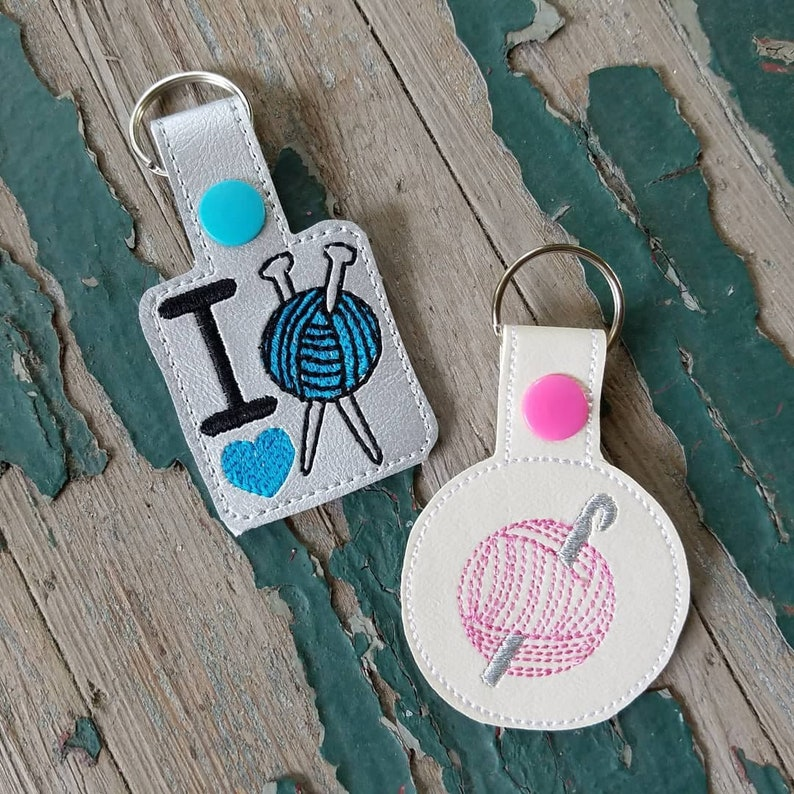 Key Fob  Key Chain  Snap Tab  Embroidered Vinyl Ball of image 0