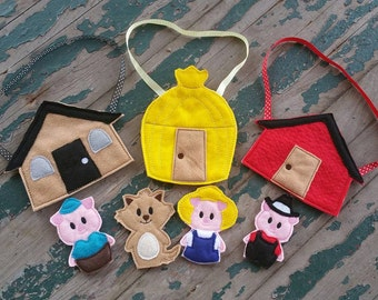 The Three Little Pigs Finger Puppets - Sold Individually or as a Set
