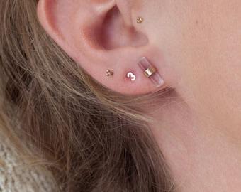 Gold Number Earrings