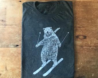 T-Shirt, Bear on Snow Skis