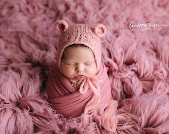 NEWBORN WRAP SET, Newborn Bonnet, Stretch Knit Wrap, Wrap, Newborn Knit Wrap, Newborn Swaddle, Newborn Wrap, Photography Prop, Newborn Prop