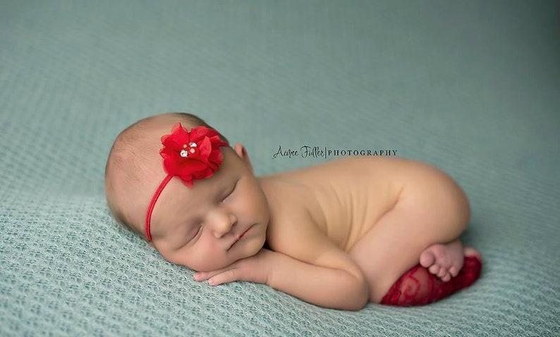 Girl Headbands Baby Headbands Red Headband Newborn Headbands Newborn Props Photo Props Flower Headband Red Flower Headband Headband