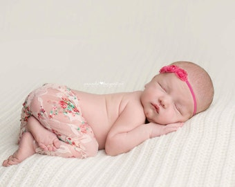 Newborn Lace Pant, Newborn Pants, Lace Pants, Flower Headband, Newborn Lace Clothing, Newborn Clothing, Photography Prop, Newborn Prop