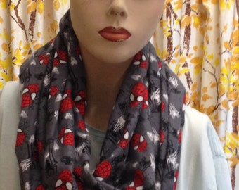 spiderman infinity flannel scarf. handmade and the perfect gift for a spiderman lover!