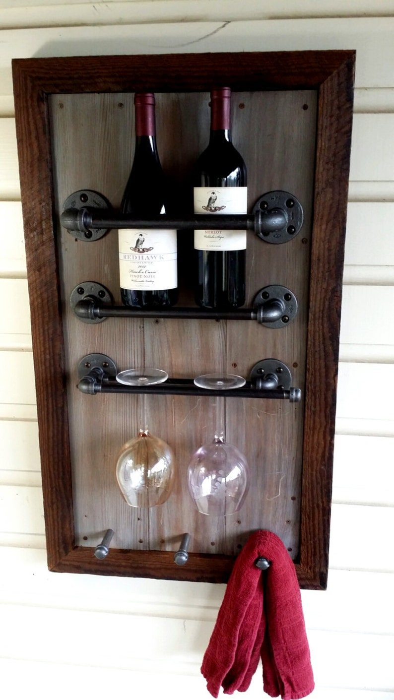 Wine Rack Reclaimed Wood Barn Wood Industrial Pipe Etsy
