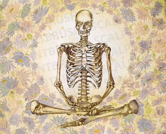 12 x 15 la meditación de esqueleto blanco azul | Etsy