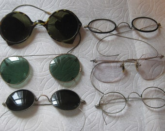 35b5ae245ec Lot of 6 Antique and Vintage Wire Rimmed Eyeglasses and Miscellaneous  Repair Lot of Frames