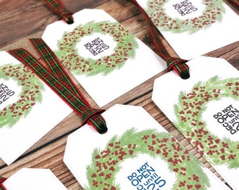 Set of 9 Gift Tags, Christmas Gift Tags, Christmas Wreath Tags, Do Not Open Until Dec 25, Green Christmas Wreath, Red Plaid Ribbon Tags