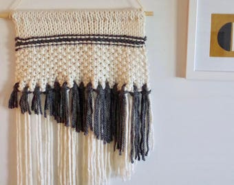 Wall Hanging - Knitted / Woven Wall Hanging - Grey, Cream