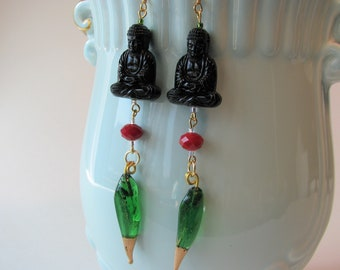 "Black Buddhas with spikes earrings, German lucite, vintage green glass charms, Oriental Asian theme jewelry 4"" long shoulder dusters"