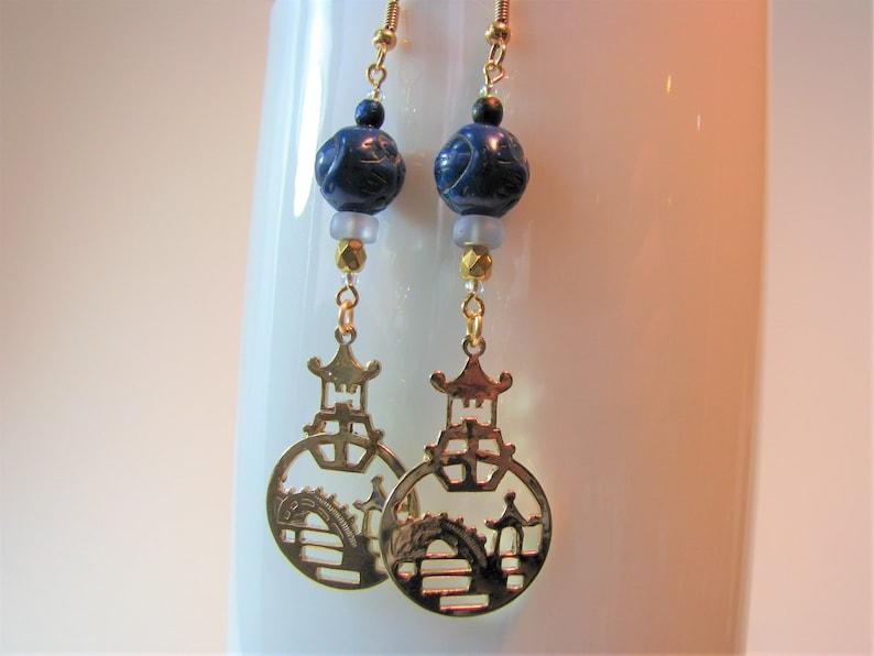 Pagoda Oriental Symbol Earrings Garden With Bridge Peaceful Blue Beads Spiritual Meditation Asian Theme Jewelry 3 25 Long Dangles
