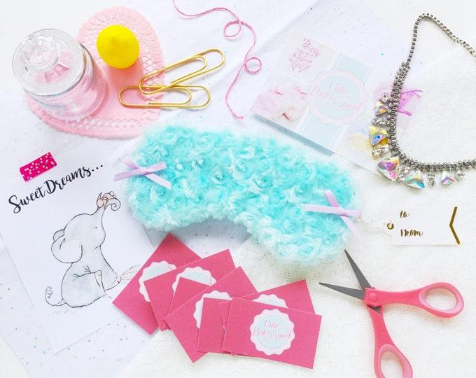 Aqua and lavender bow minky eyemask spamask