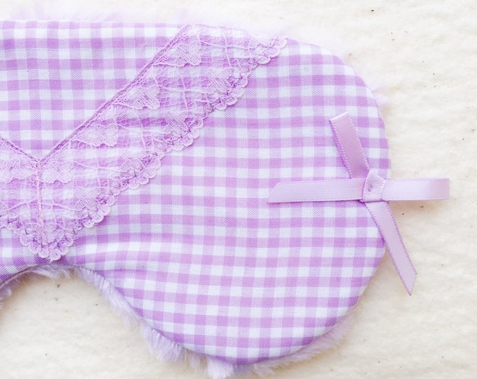 Lavender gingham and lace 'Grape Jelly' eyemask, spa mask