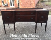 Antique Sheraton Buffet, Mahogany Sideboard, Price Includes Custom Painting (Shipping is Not Free Please Ask for a Quote. Thank You )
