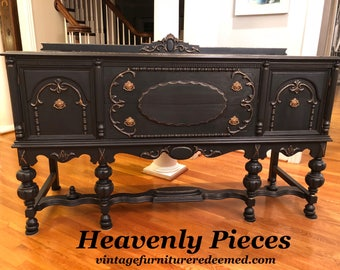 Antique Jacobean Buffet/Sideboard, One of a Kind, Gilded