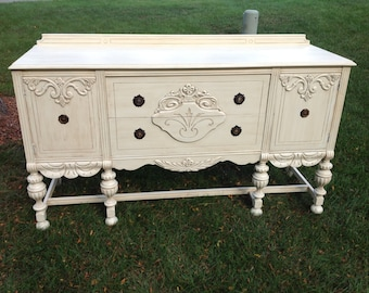 Antique Buffet, Custom Painted, Example of Our Work, Contact to See Similar in Stock Pieces