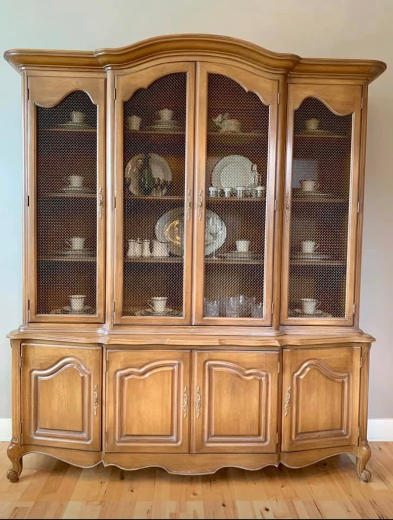 Attirant Large French Provincial China Cabinet, Hutch, Cost Includes Custom Painting  (Shipping Is Not Free...Please Ask For A Quote)