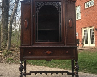 Beautiful Antique China Cabinet, Hutch, Ready for Us to Custom Paint for You