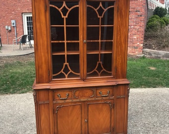 Gorgeous Antique China Cabinet, Hutch, Ready for us to Custom Paint for You
