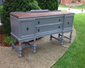 Gorgeous Antique Buffet/Sideboard, Hand Painted and Stained, Example of Our Work, Contact to See Similar in Stock Pieces