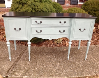 Beautiful Blue and Black Buffet/Sideboard, Example of Our Work, Contact to See Similar in Stock Pieces