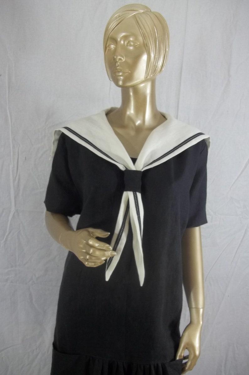 2289bd4600241 1920s, black, linen, sailor collar dress, flapper dress,maxi, vintage  style, bridesmaid dress, sundress plus size. Free shipping in USA.