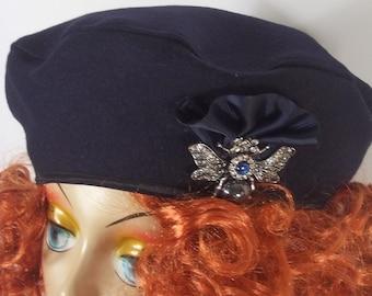 Wool, navy blue, beret, hat, bee, brooch, fashion, designer, women, ladies, beret, French beret, winter, fall, beret, hat.