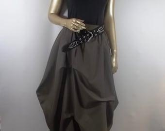 Wool blend,, Lagenlook, skirt, army green, maxi, balloon, bubble,  fall, winter, skirt, women, ladies, designer, plus size skirt. XS-XXL