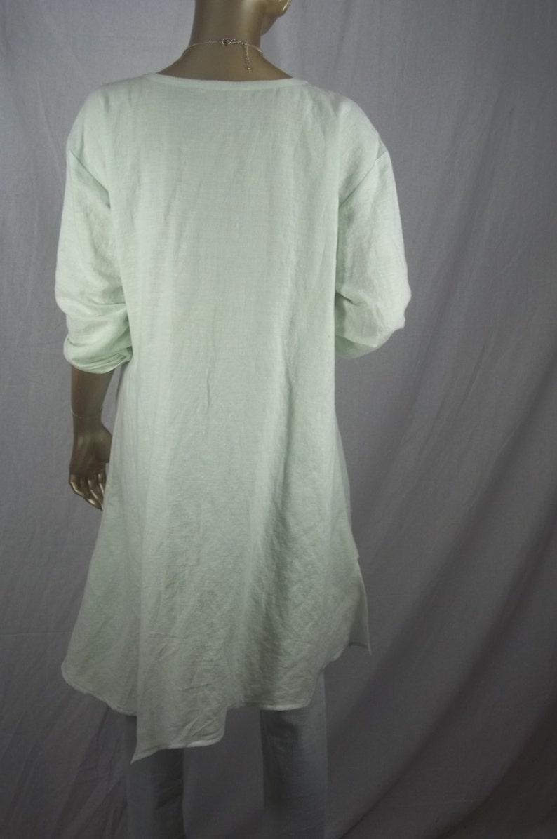 lagenlook tunic asymmetric tunic linen top plus size tunic light mint XS-5XL Linen tunic tunic shabby chic tunic women/'s ladies