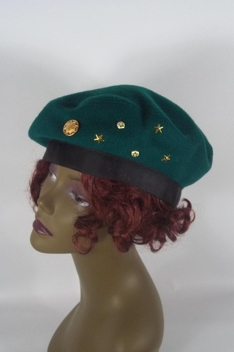 425dc23fe1025 Wool beret green designer fashion turban vintage style