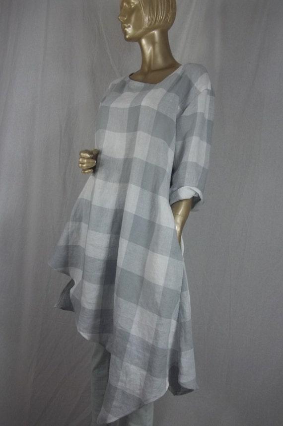 Linen plus size tunic lagenlook ladies women/'s linen top tunic tunic asymmetric white layered look plaid,tunic gray shabby chic
