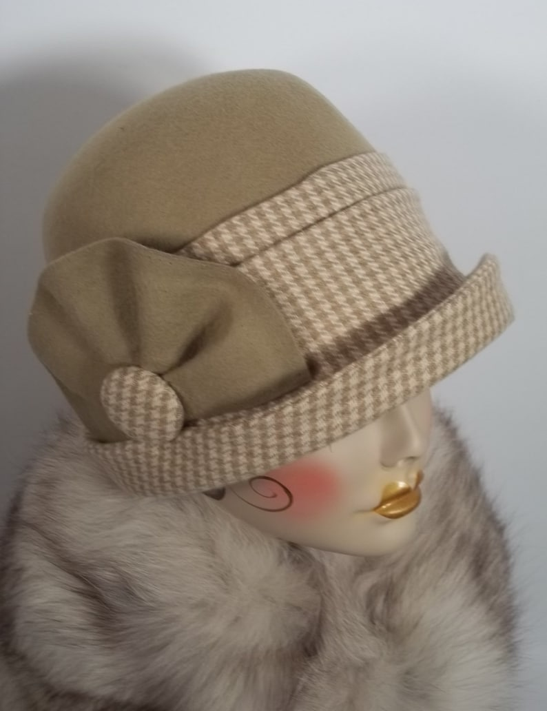 c29cb575a00f33 Was 99.00 Wool felt cloche hat 1920's hat camel beige | Etsy
