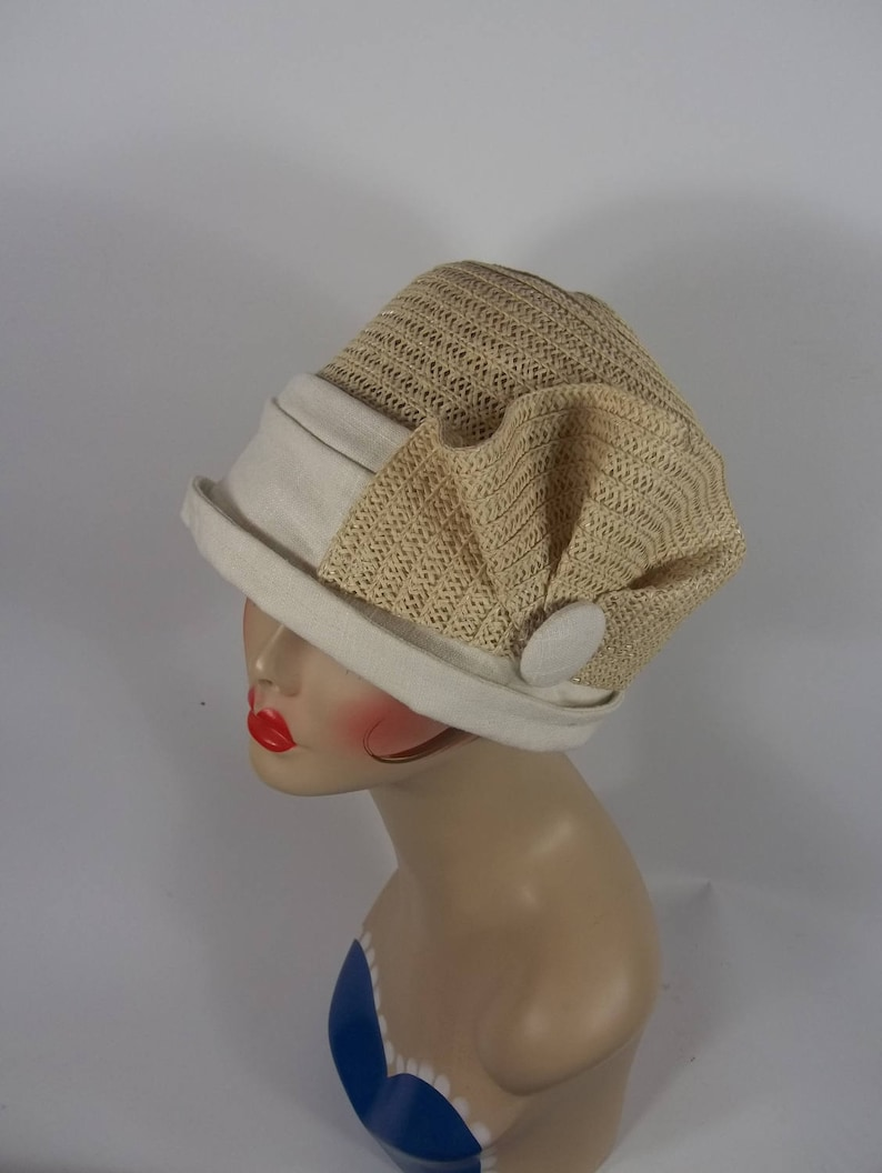 1920s Hat Styles for Women – History Beyond the Cloche Hat Straw linen cloche hat 1920s Art Deco designer church hat vintage hat church hat straw hat linen hat women ladies hat. SML $68.00 AT vintagedancer.com