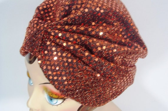 Sequined Fashion Turban Hat Copper 1920s Style Dressy Etsy
