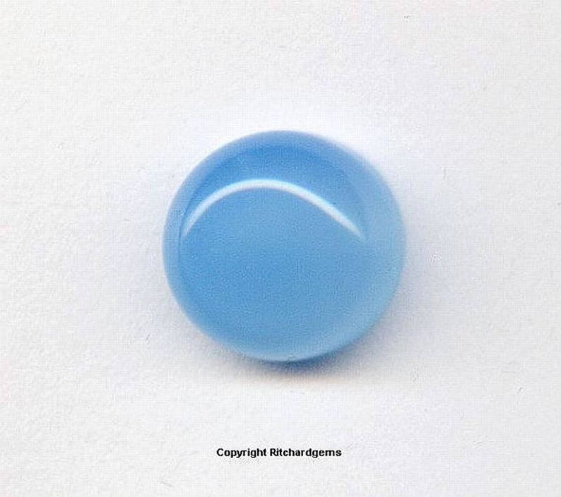 12mm Natural Loose Aqua Blue Chalcedony Round Cabochon for ONE