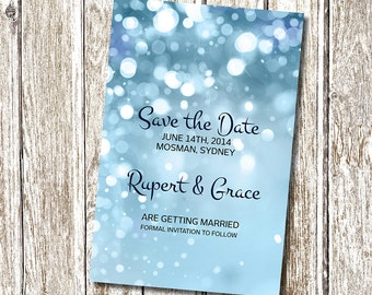 Blue Sparkle - Save the Date - Printable and Personalised