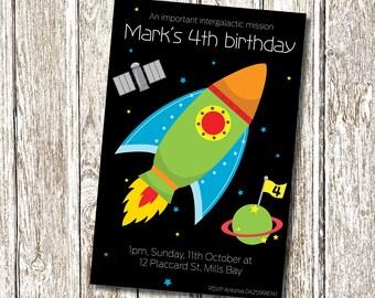 Rocket Ship Birthday Invitation - Printable and  Personalised