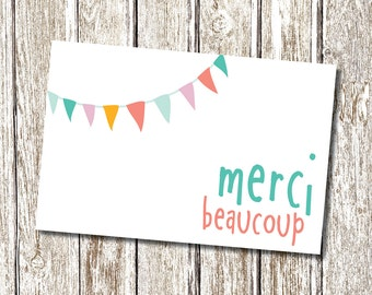 Merci Beaucoup -  Thank you card- Printable and Personalised