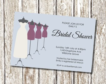 Dress mannequin Wedding Bridal Shower Invitation - Printable and Personalised