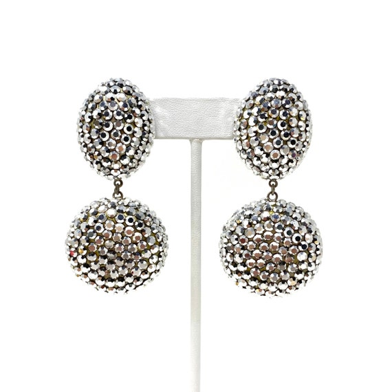 Vintage Clip Earrings, Silver Crystal Dangle Clip… - image 3