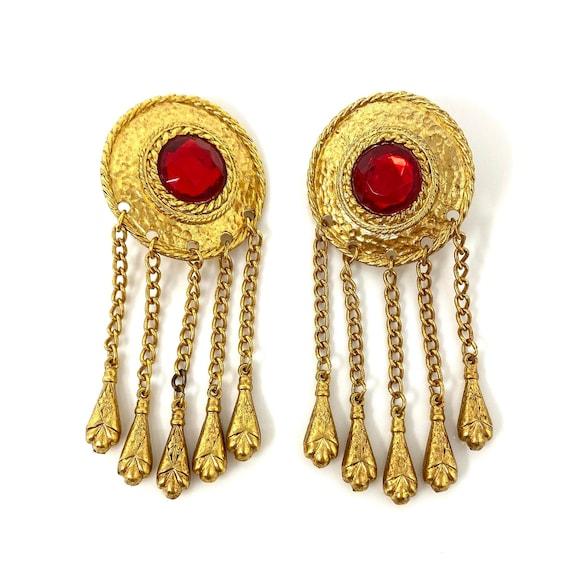 Vintage Clip Earrings, Red Crystal Gold Tone Dangl