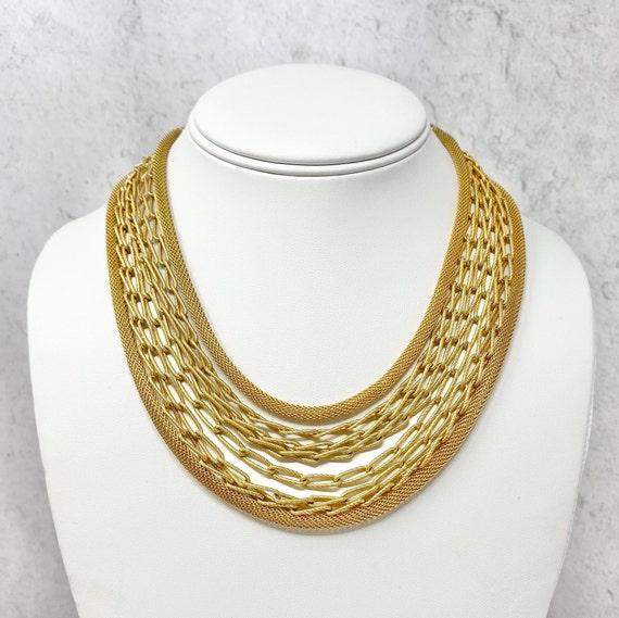 Vintage Kramer Gold Chain Multi Strand Necklace, 1