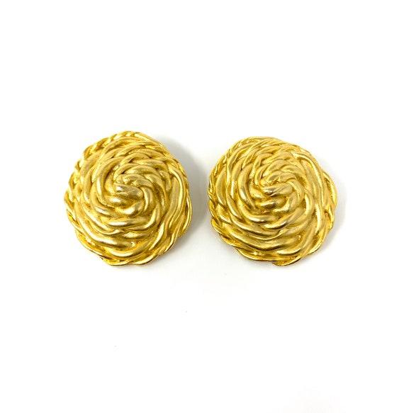 Vintage Clip Earrings, Matte Gold Rope Design Cli… - image 3