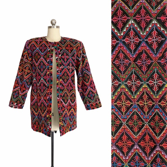 Vintage Colorful Jacket, Geometric Multicolor Embr