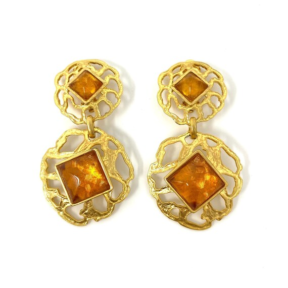 Vintage Clip Earrings, Orange Cabochon Gold Tone D